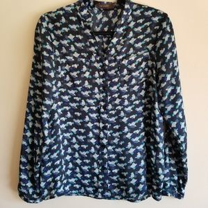 THE LIMITED Patterned Blouse With Pockets Blue